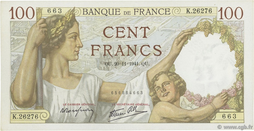 100 Francs SULLY  FRANCE  1941 F.26.61 AU-