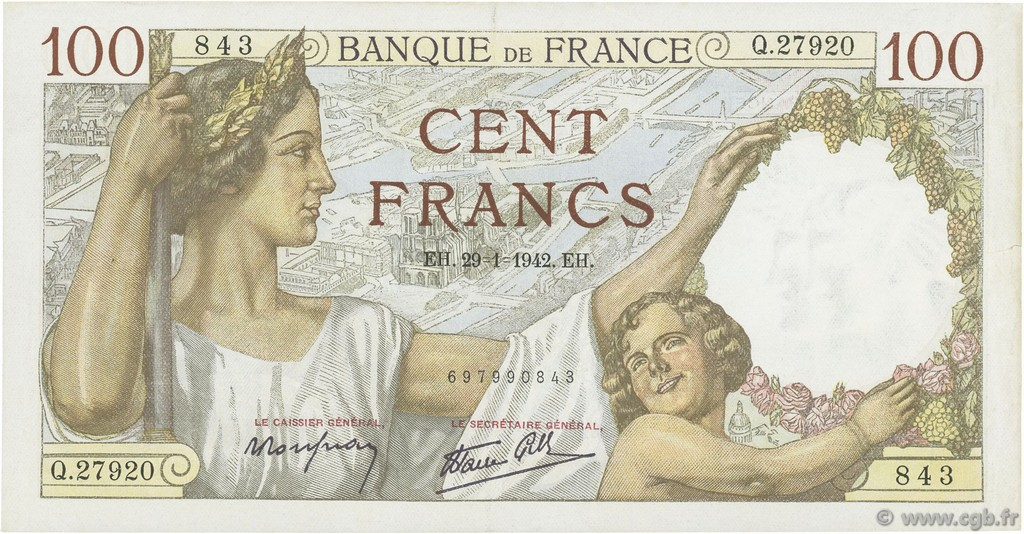 100 Francs SULLY FRANCE  1942 F.26.65 SUP