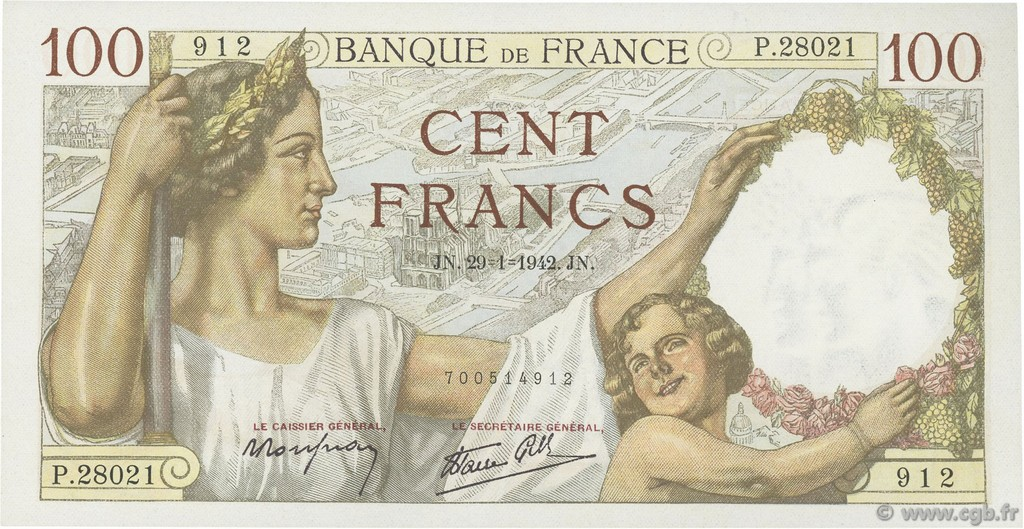 100 Francs SULLY FRANCE  1942 F.26.65 NEUF