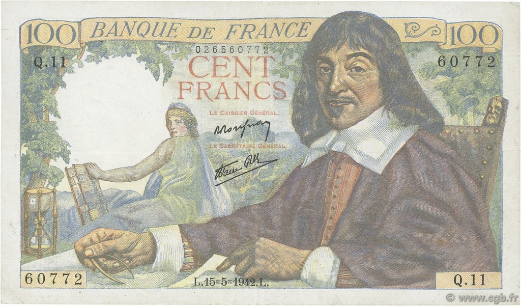 100 Francs DESCARTES FRANCE  1942 F.27.01 TTB+
