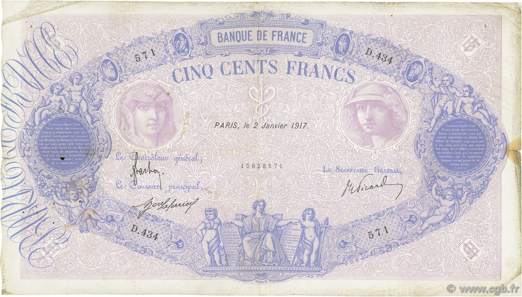 500 Francs BLEU ET ROSE FRANCE  1917 F.30.23 TB