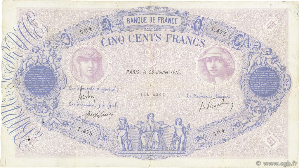 500 Francs BLEU ET ROSE FRANCE  1917 F.30.23 pr.TB