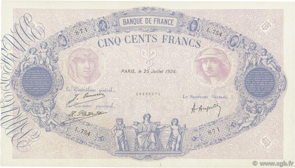 500 Francs BLEU ET ROSE FRANCE  1924 F.30.28 TTB+
