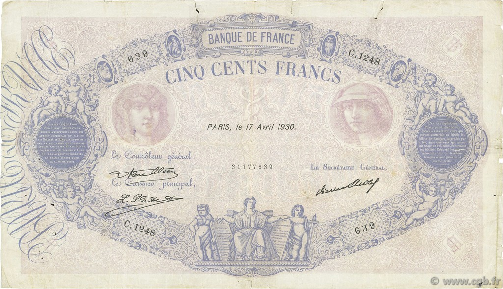 500 Francs BLEU ET ROSE FRANCE  1930 F.30.33 B+