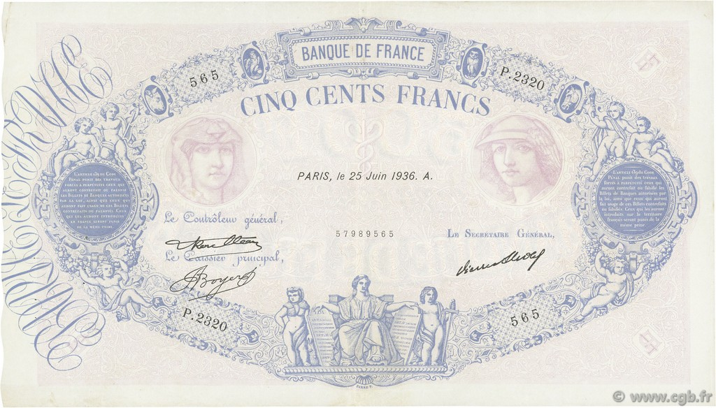 500 Francs BLEU ET ROSE FRANCE  1936 F.30.37 TTB+