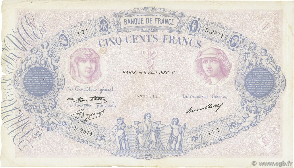 500 Francs BLEU ET ROSE FRANCE  1936 F.30.37 TB
