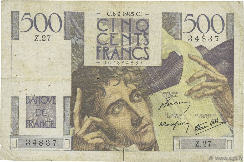 500 Francs CHATEAUBRIAND FRANCE  1945 F.34.02 TB