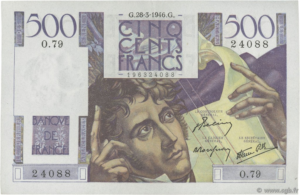 500 Francs CHATEAUBRIAND FRANCE  1946 F.34.05 SUP+
