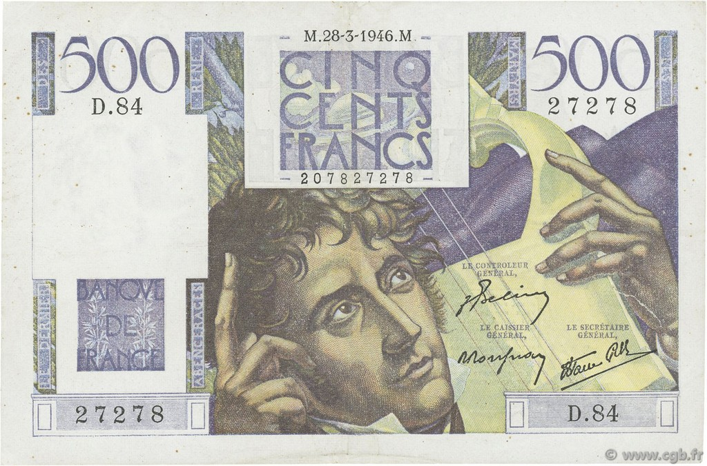 500 Francs CHATEAUBRIAND FRANCE  1946 F.34.05 SUP