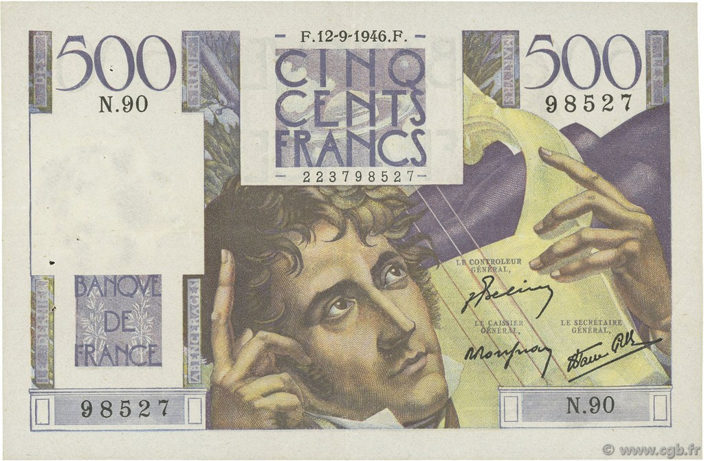 500 Francs CHATEAUBRIAND FRANCE  1946 F.34.06 pr.SUP