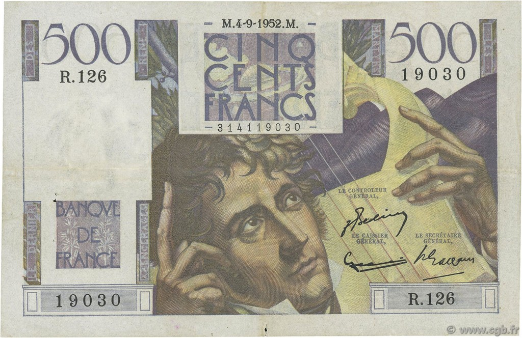500 Francs CHATEAUBRIAND FRANCE  1952 F.34.10 TTB