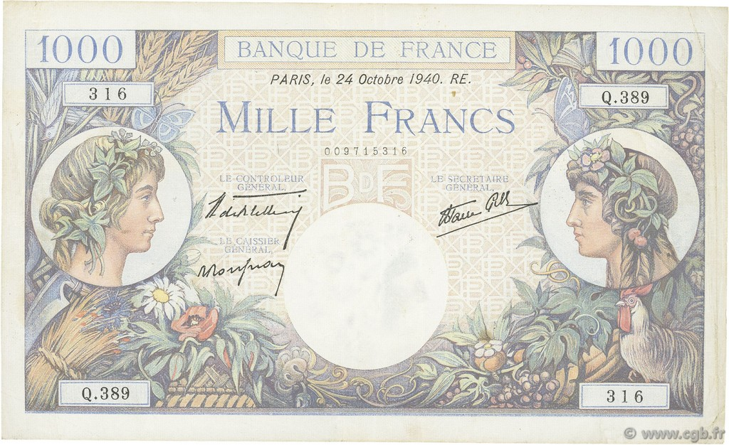 1000 Francs COMMERCE ET INDUSTRIE FRANCE  1940 F.39.01 TTB