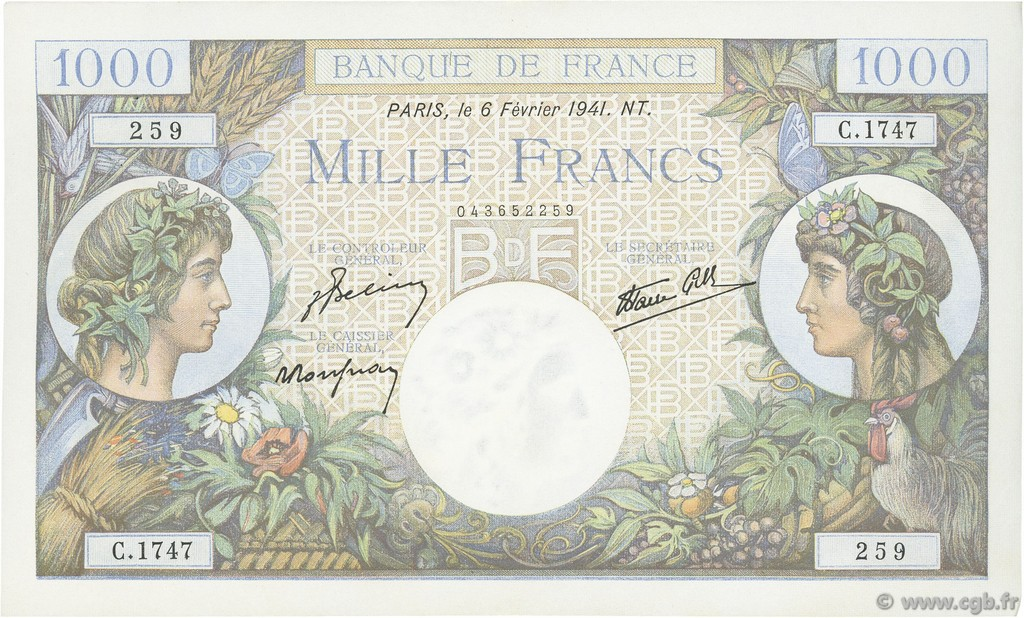 1000 Francs COMMERCE ET INDUSTRIE FRANCE  1941 F.39.04 SUP+