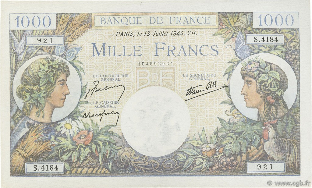 1000 Francs COMMERCE ET INDUSTRIE FRANCE  1944 F.39.11 pr.NEUF