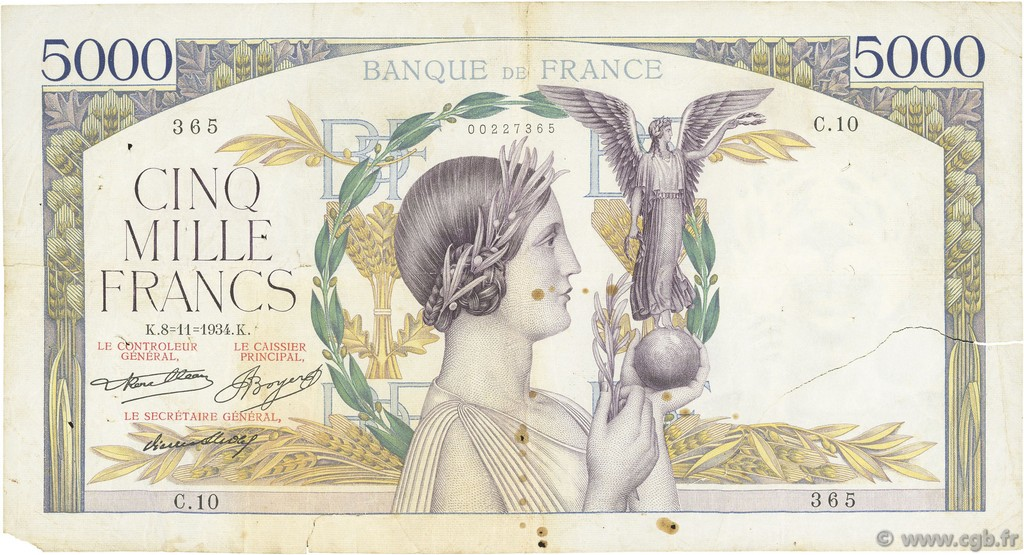 5000 Francs VICTOIRE Taille Douce FRANCE  1934 F.44.01 B