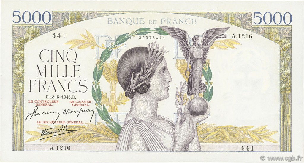 5000 Francs VICTOIRE Impression à plat FRANCE  1943 F.46.49 SUP