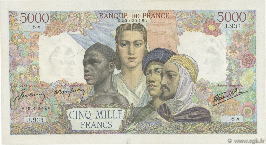 5000 Francs EMPIRE FRANÇAIS FRANCE  1945 F.47.39 TTB