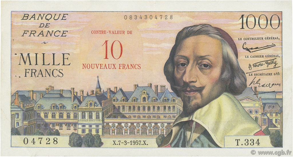 10 NF sur 1000 Francs RICHELIEU FRANCE  1957 F.53.01 TTB à SUP