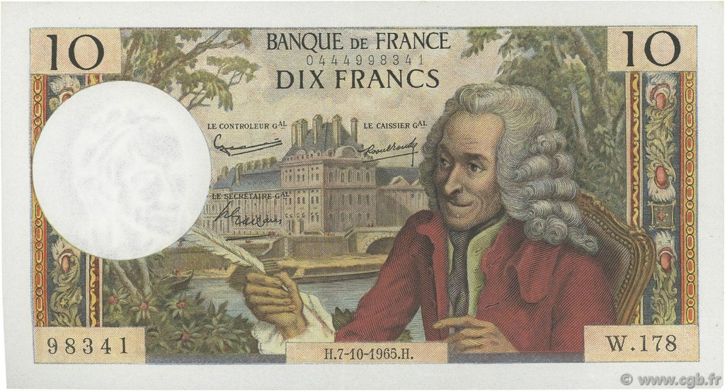 10 Francs VOLTAIRE FRANCE  1965 F.62.16 SUP