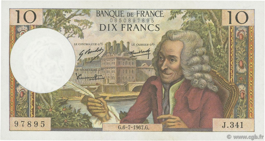 10 Francs VOLTAIRE FRANCE  1967 F.62.27 SUP