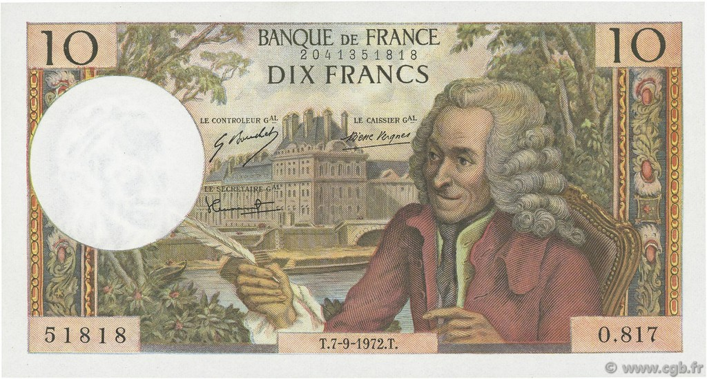 10 Francs VOLTAIRE FRANCE  1972 F.62.58 pr.NEUF