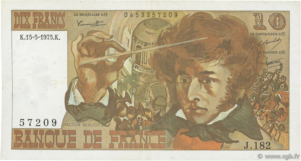 10 Francs BERLIOZ FRANCE  1975 F.63.10 TTB