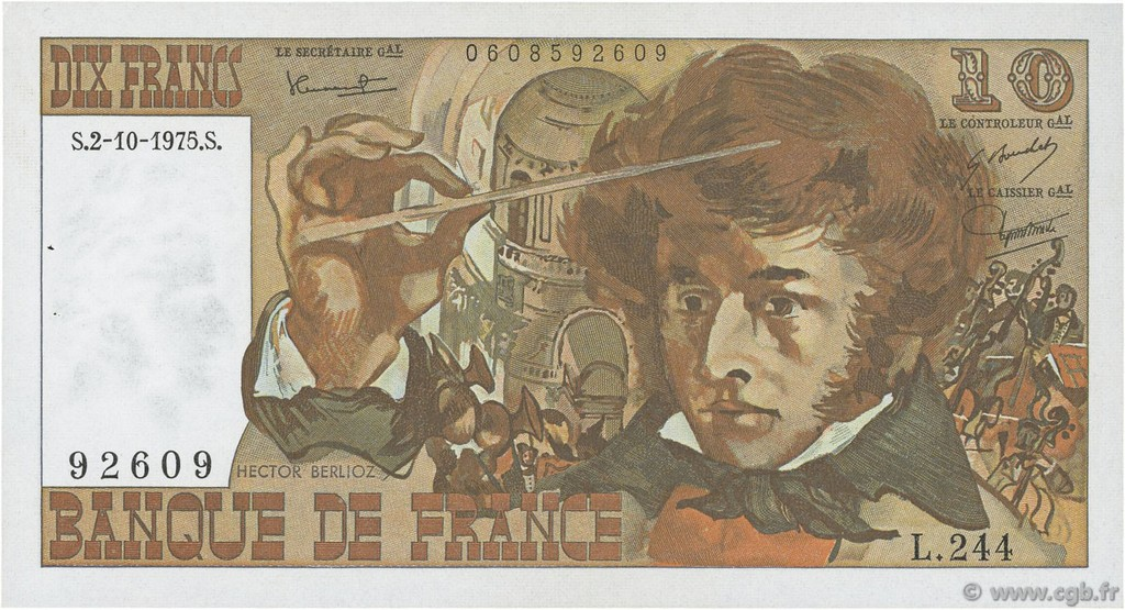 10 Francs BERLIOZ FRANCE  1975 F.63.13 SPL