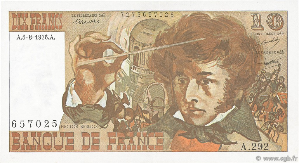 10 Francs BERLIOZ FRANCE  1976 F.63.20 SUP