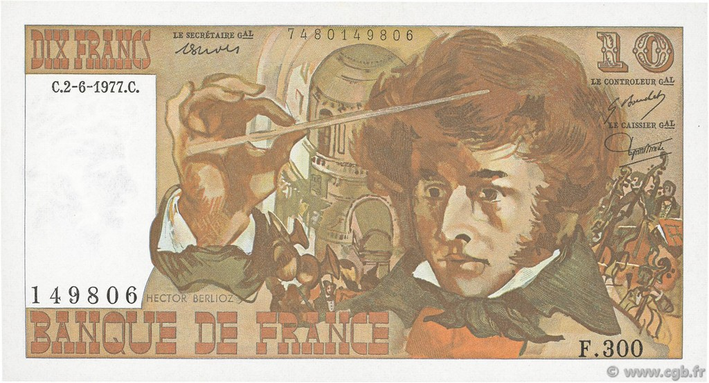 10 Francs BERLIOZ FRANCE  1977 F.63.22 SPL