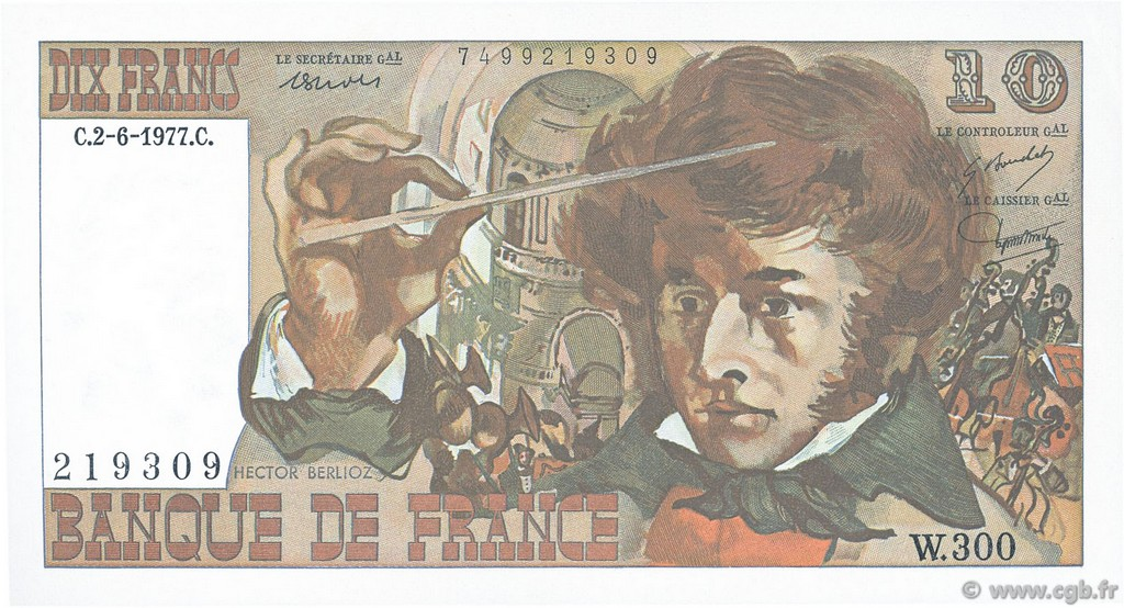 10 Francs BERLIOZ FRANCE  1977 F.63.22 SUP