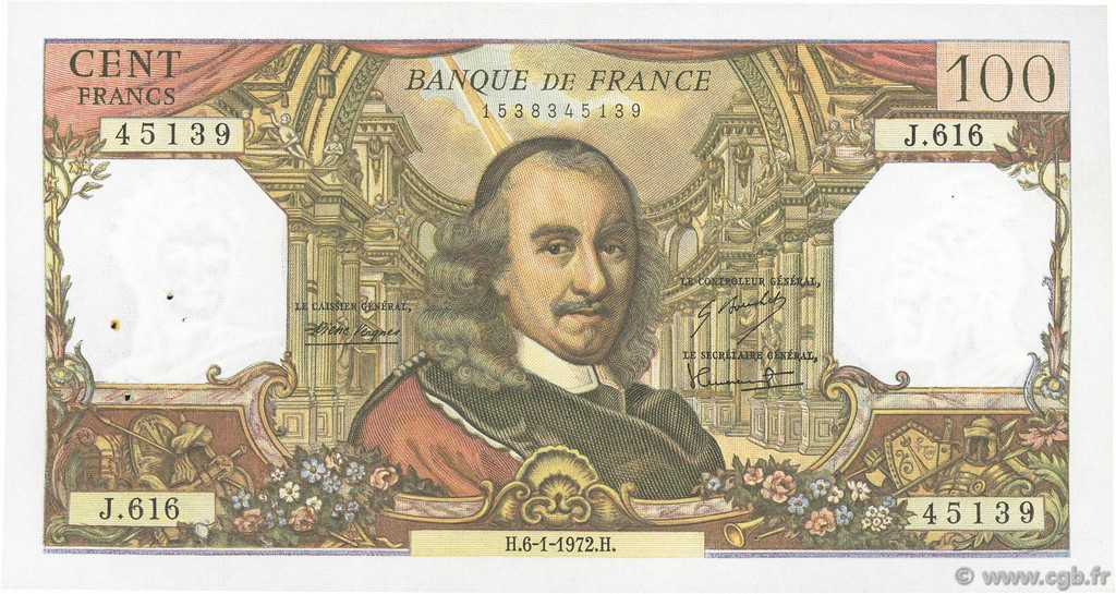 100 Francs CORNEILLE FRANCE  1972 F.65.38 pr.SUP