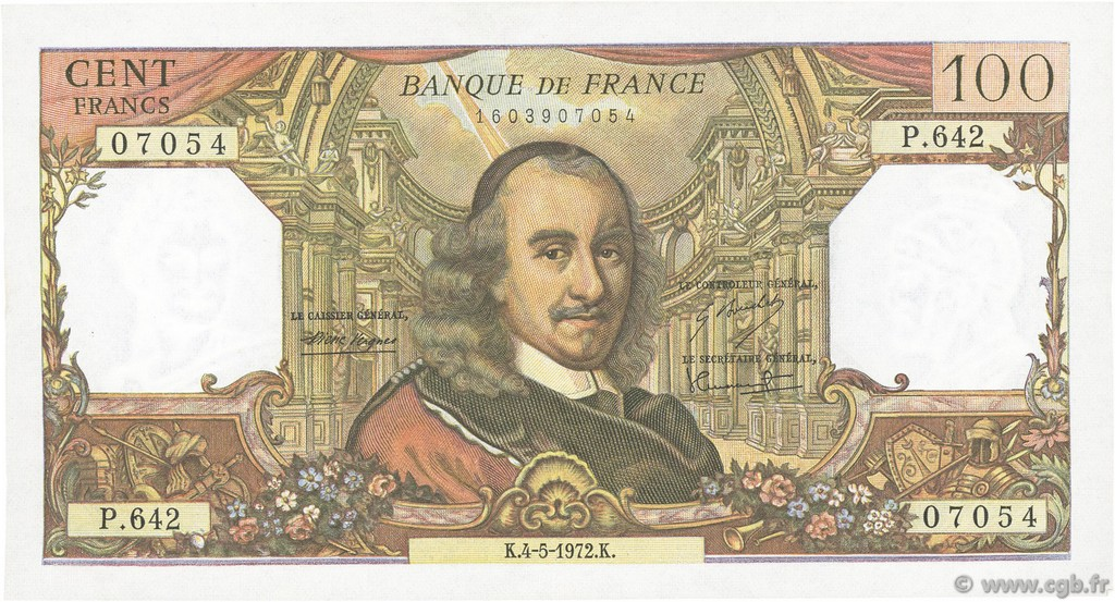 100 Francs CORNEILLE FRANCE  1972 F.65.39 pr.SUP