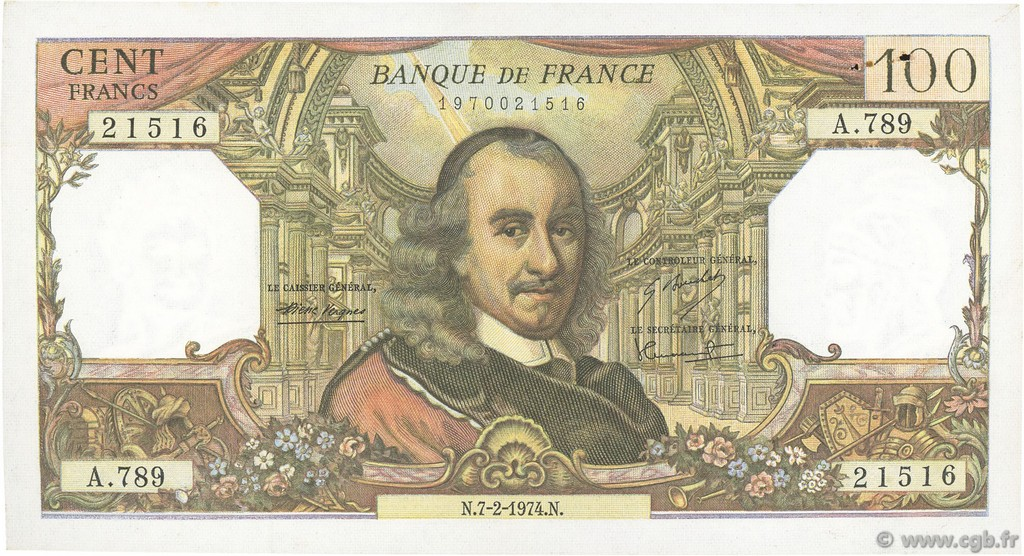 100 Francs CORNEILLE FRANCE  1974 F.65.45 pr.SUP