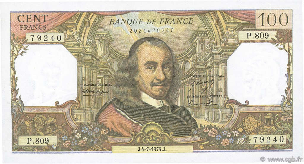 100 Francs CORNEILLE FRANCE  1974 F.65.46 SUP+