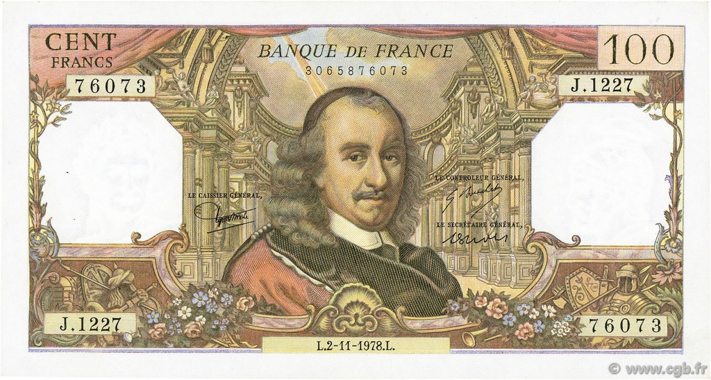 100 Francs CORNEILLE FRANCE  1978 F.65.64 SUP