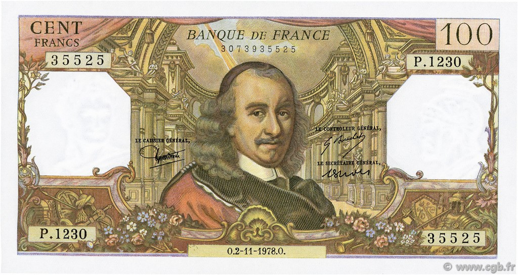 100 Francs CORNEILLE FRANCE  1978 F.65.64 SPL+