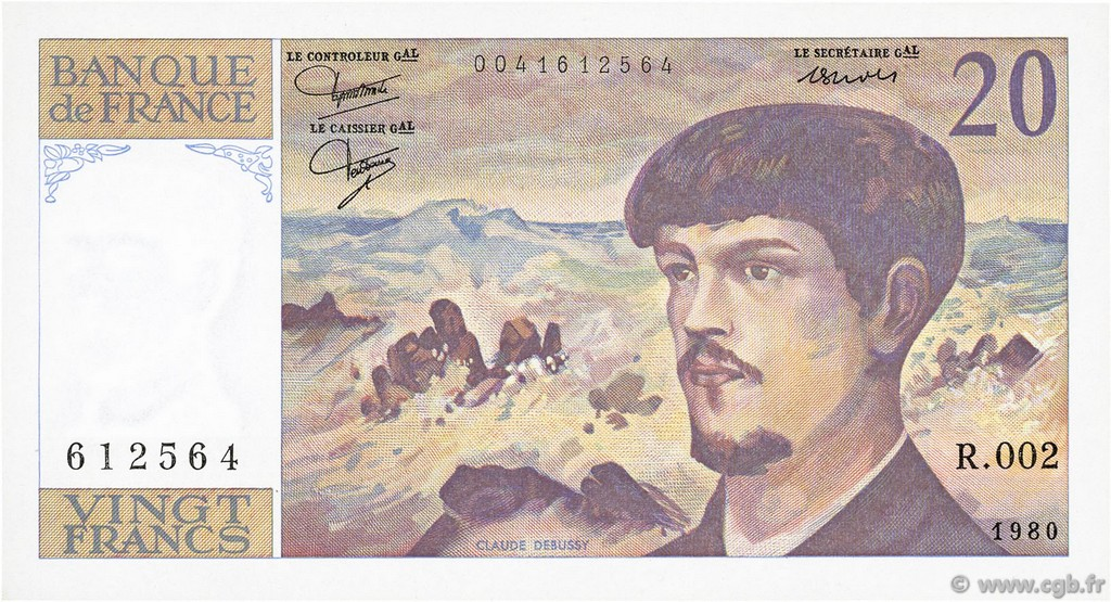 20 Francs DEBUSSY FRANCE  1980 F.66.01 SPL+
