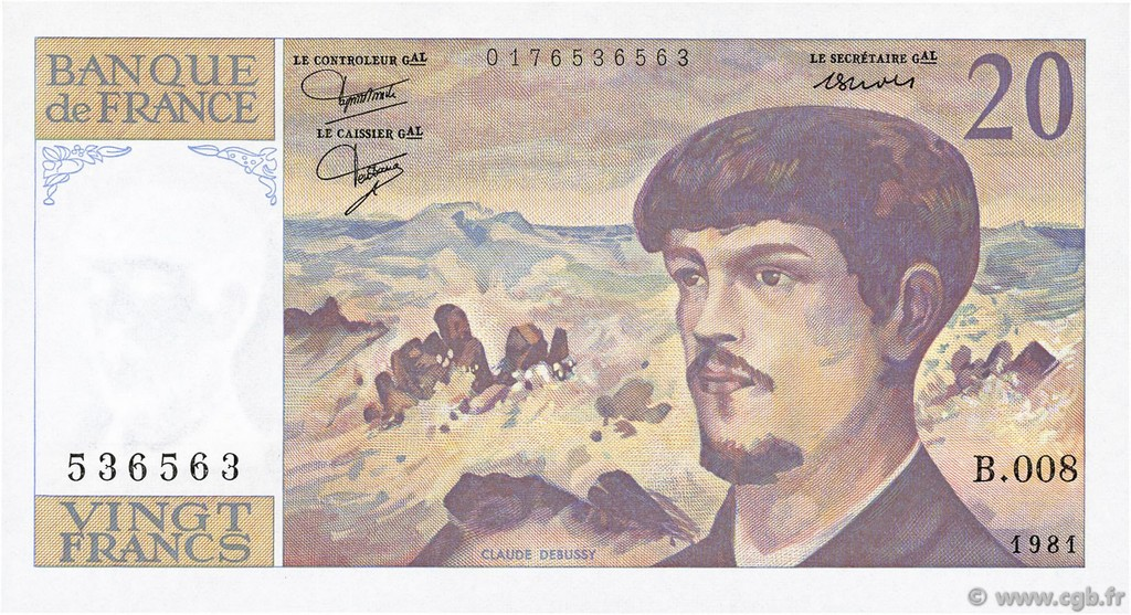 20 Francs DEBUSSY FRANCE  1981 F.66.02 SUP+