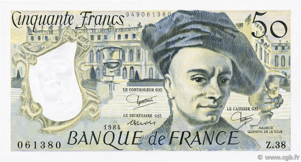 50 Francs QUENTIN DE LA TOUR FRANCE  1984 F.67.10 SPL