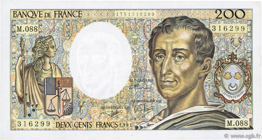 200 Francs MONTESQUIEU FRANCE  1991 F.70.11 TTB+