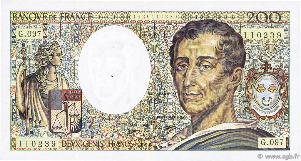 200 Francs MONTESQUIEU FRANCE  1990 F.70.10b TTB+