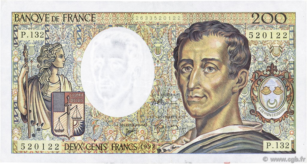 200 Francs MONTESQUIEU FRANCE  1992 F.70.12c TTB