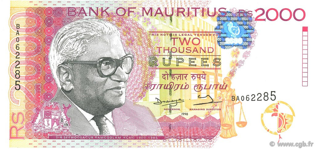 2000 Rupees ÎLE MAURICE  1998 P.48 NEUF