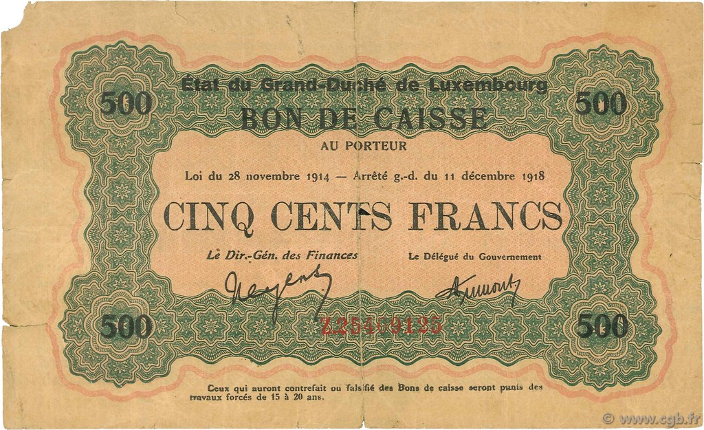 500 Francs LUXEMBOURG  1919 P.33b TB