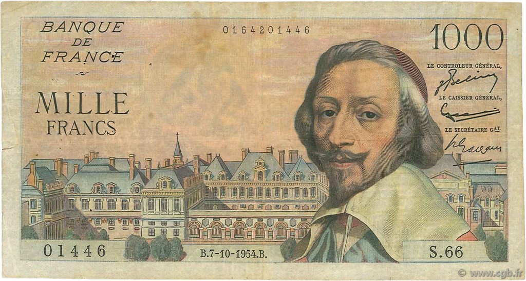 1000 Francs RICHELIEU FRANCE  1954 F.42.08 TB