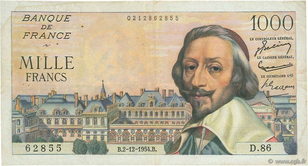1000 Francs RICHELIEU FRANCE  1954 F.42.09 TB+