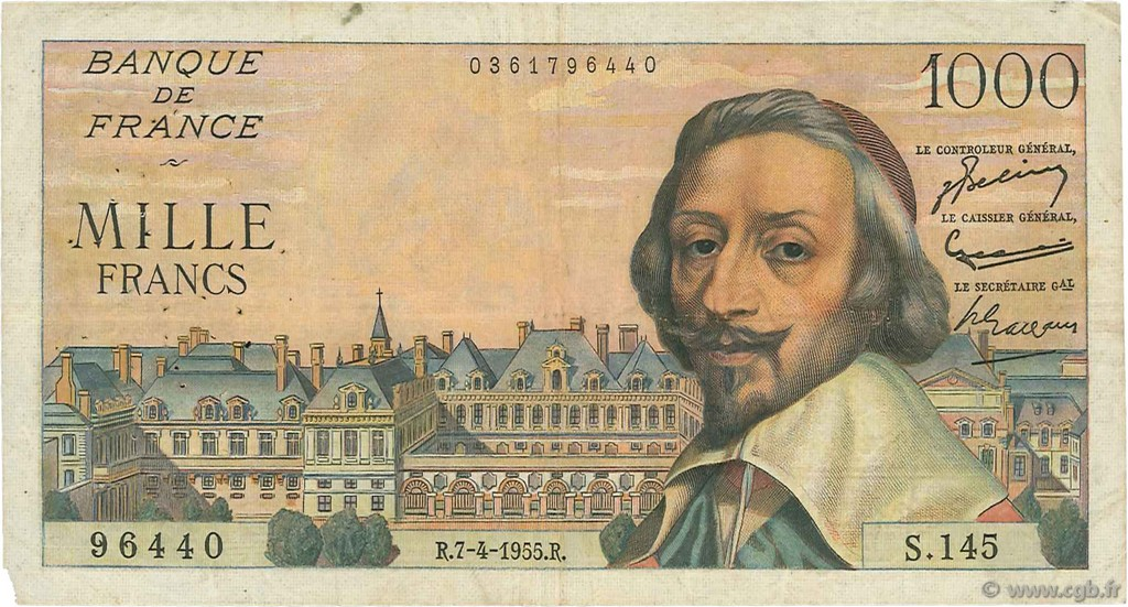 1000 Francs RICHELIEU FRANCE  1955 F.42.12 TB