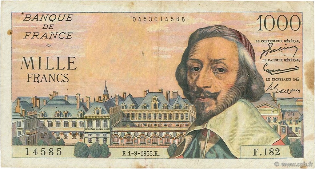 1000 Francs RICHELIEU FRANCE  1955 F.42.15 TB