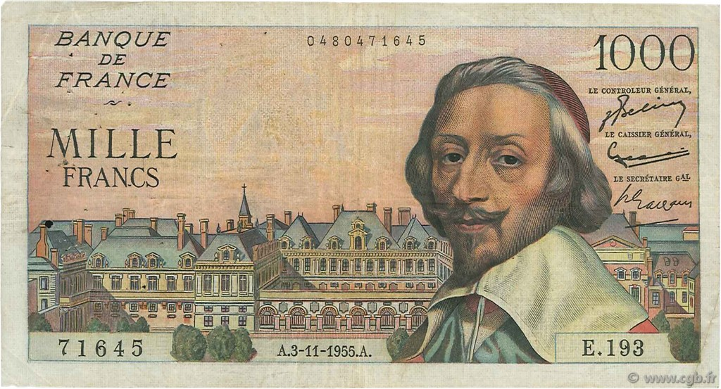 1000 Francs RICHELIEU FRANCE  1955 F.42.16 TB