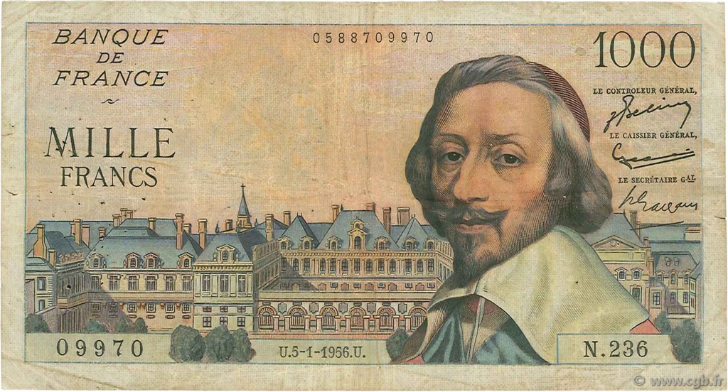 1000 Francs RICHELIEU FRANCE  1956 F.42.18 pr.TB